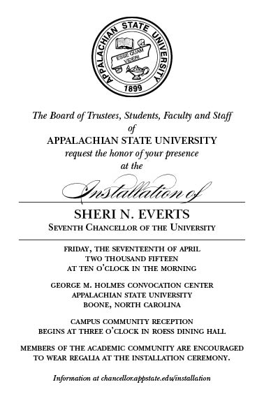 Installation of Dr. Sheri N. Everts, Seventh Chancellor of Appalachian State University